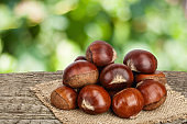 chestnut on the old wooden table with blurred garden background