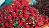 Grocery market.Ripe strawberry
