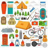 Mountain hike elements. Camping equipment