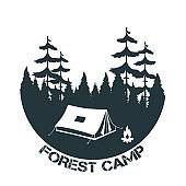 Forest camp. Tent with a campfire