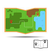 Navigation and outdoor adventure, hiking tourist map location icon