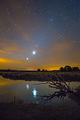 Starry night landscape
