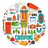 Set of hike and camp equipment in flat