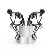 Black skeletons sitting pose