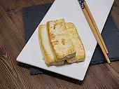 Asian food tofu dipping, Tofu grilled,