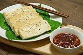 Korean food tofu dipping
