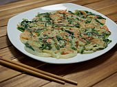 Korean food Shrimp pajeon