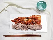 Korean food Kimchi and pork, Napa Wraps with Pork , Bossam,