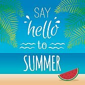 Summer typography concept illustration vector.
