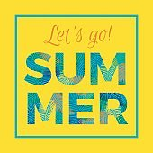 Summer typography with palm leaves background.
