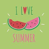 Cute watermelon vector for summer illustration concept.