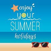 Summer typography and icons background