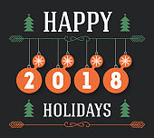 Happy Holidays 2018 vector inscription for invitation and greeting card, prints and posters. Typographic Christmas calligraphic design.