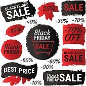 Black Friday sale, best price gradient banners, labels, round shapes. Vector collection of paint brush strokes isolated on white background. Hand drawn grunge design elements set with autumn leaves.