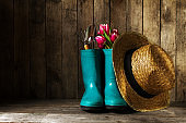 Gardening tools with blue rubber boots, straw hat, spring flower