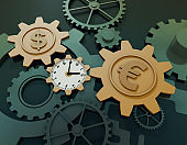 Time gear and currency symbol