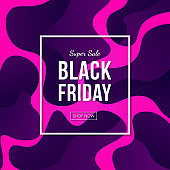 Black friday sale banner vector design with abstract liquid flow background.