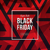 Black friday sale vector banner. Abstract polygonal geometric background with triangle shapes.