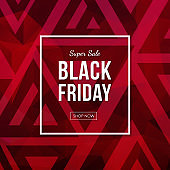 Black friday sale vector banner with abstract polygonal background.
