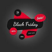 Black friday vector banner. Sale offer flat sticker.
