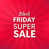 Black friday vector promo banner with bright background.