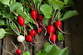 Bunch of raw radishes, food local