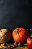 Blue food background with pumpkin, food closeup