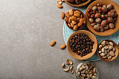 Food background with nuts, above