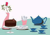 A set of chocolate cake and tea. Table set. Material collection of chocolate. Valentine's day.