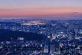 Seoul city and Downtown skyline in Seoul, South Korea