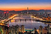 Seoul Cityscape of Hangang bridge in korea.