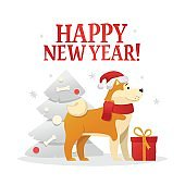 Happy New Year postcard template with the cute yellow dog with the red gift near the Christmas tree on white background. The dog cartoon character vector illustration.
