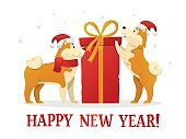 Happy New Year 2018 postcard template with two cute yellow dogs with the dig red gift on white background. The dog cartoon characters vector illustration