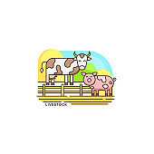 Farm livestock line icon. Farming illustration of cow and pig vector flat design isolated on white background. Farm logo template, element for agriculture business, linear icon object.