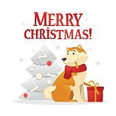 Merry Christmas postcard template with the cute yellow dog with the red gift sitting near the Christmas tree on white background. The dog cartoon character vector illustration.