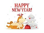 Happy New Year 2018 postcard template with the cute yellow dog lying near the Christmas tree on white background. The dog cartoon character vector illustration.