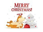 Merry Christmas postcard template with the cute yellow dog lying near the Christmas tree on white background. The dog cartoon character vector illustration.