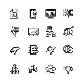 Simple set of Data Analysis Related Vector Line Icons. Contains such Icons as Charts, Graphs, Traffic Analysis, Big Data and more. 48x48 Pixel Perfect.