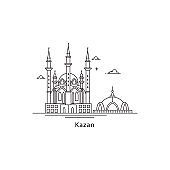 Kazan icon isolated on white background. Kazan s landmarks line vector illustration. Traveling to Russia cities concept.