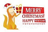 Merry Christmas and Happy New Year postcard template with the cute yellow dog with the red gift on white background. The dog cartoon character vector flat illustration.