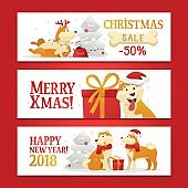Three New Year 2018 and Christmas horizontal banners with yellow dogs symbol and gifts on the white background. Cute dog cartoon characters set vector illustration.