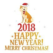 Merry Christmas and Happy New Year postcard template with the cute yellow dog on white background. The dog cartoon character vector illustration.