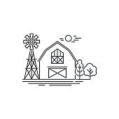 Farm barn line icon. Outline illustration of horse barn vector linear design isolated on white background. Farm icon template, element for farming design, line icon object.