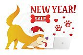 Happy New Year postcard template with the cute yellow dog ordering Christmas gifts on white background. The dog cartoon character vector flat illustration.