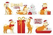 Christmas dog cartoon characters vector illustration. Yellow dogs in different poses vector flat design. New year set of dogs isolated on white background.