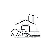 Farm barn and tractor line icon. Outline illustration of horse barn vector linear design isolated on white background. Farm icon template, element for farming design, line icon object.