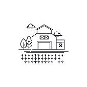 Farm barn line icon with germinating field Outline illustration of sprouts on the field vector linear design isolated. Farm icon template, element for farming design, line icon object.