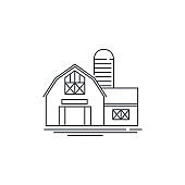 Farmhouse barn line icon. Outline illustration of horse barn vector linear design isolated on white background. Farm icon template, element for farming design, line icon object.
