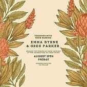Floral vintage wedding invitation. Protea botanical vintage background. Vector illustration