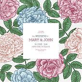 Floral wedding invitation template. Floral card design. Vintage roses.